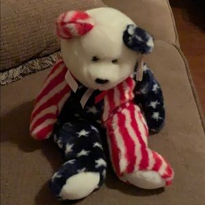 "TY ""Spangle"" Beanie Buddy Red, White & Blue"